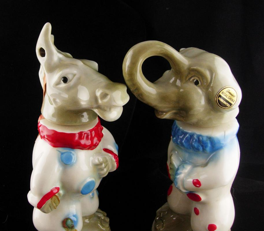 PAIR Vintage Donkey Political Figural bottle and Democrat elephant Novelty gift Mens desk accessory