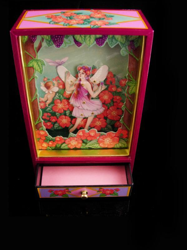 Animated fairy music box - limited edition - Sanyko TMC - dancing nymph Jewelry Music Shadow Box - works great