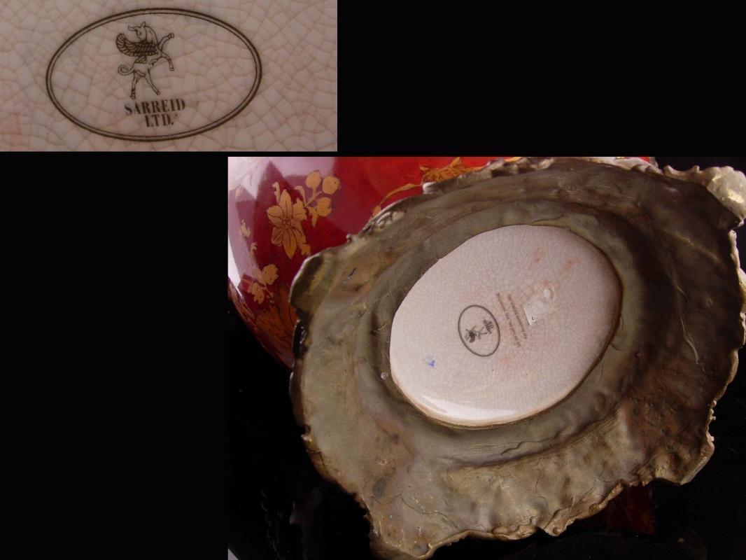 HUGE Gargoyle Urn - Antique style HEAVY sarreid pottery vase - brass Jardiniere - bacchus handles - Vintage devil medieval renaissance -