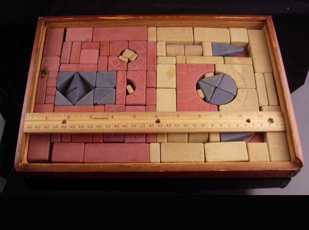 1911  building blocks set - Anchor Stone Blocks - Antique Toy - classic vintage toy - Friedrich Froebel - architect gift