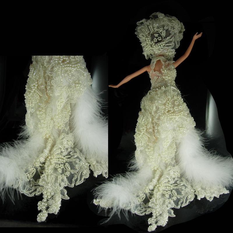 Las Vegas Showgirl DOll One of a KIND Vintage wedding dress Feather boa swarovski Crystal hand beaded Figurine Statue Doll Gay interest Lgbt