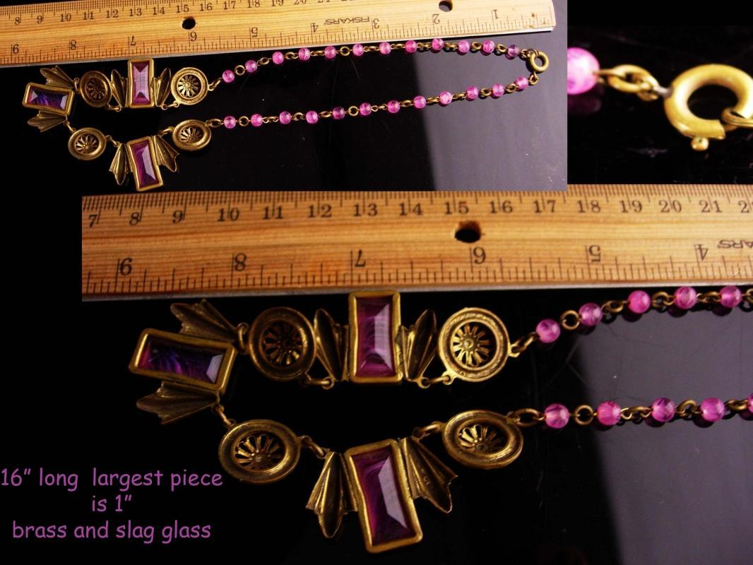 Vintage Czech Necklace -  Art deco Brass pendants - Neiger Czech - art deco choker - pink slag glass Necklace