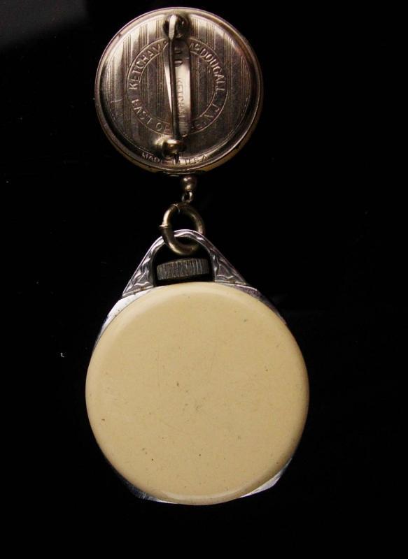 Antique Ingersoll Nurse watch - Enamel teacher watch - retractable chain - pendant pocketwatch -