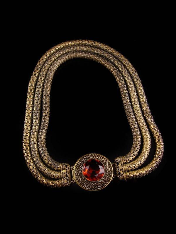 Antique Mesh Rope Necklace - 3 strand golden topaz centerpiece -  rhinestone snake choker - Mesh golden necklace - estate jewelry