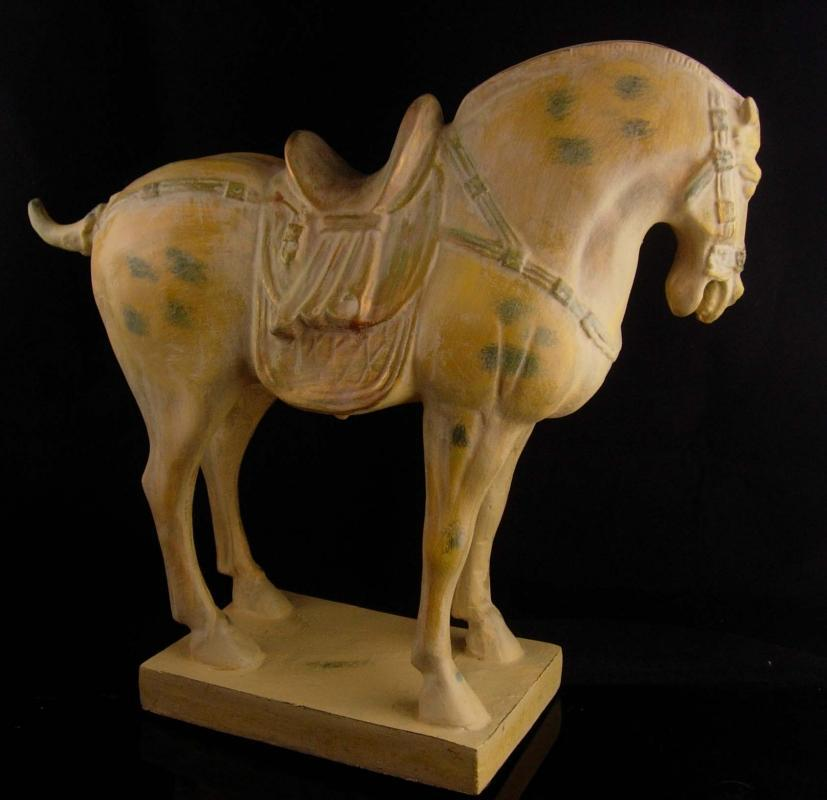 Large Chinese style  horse / vintage pinto statue - primitive sculpture - western statue - gift for men / artist sculpture