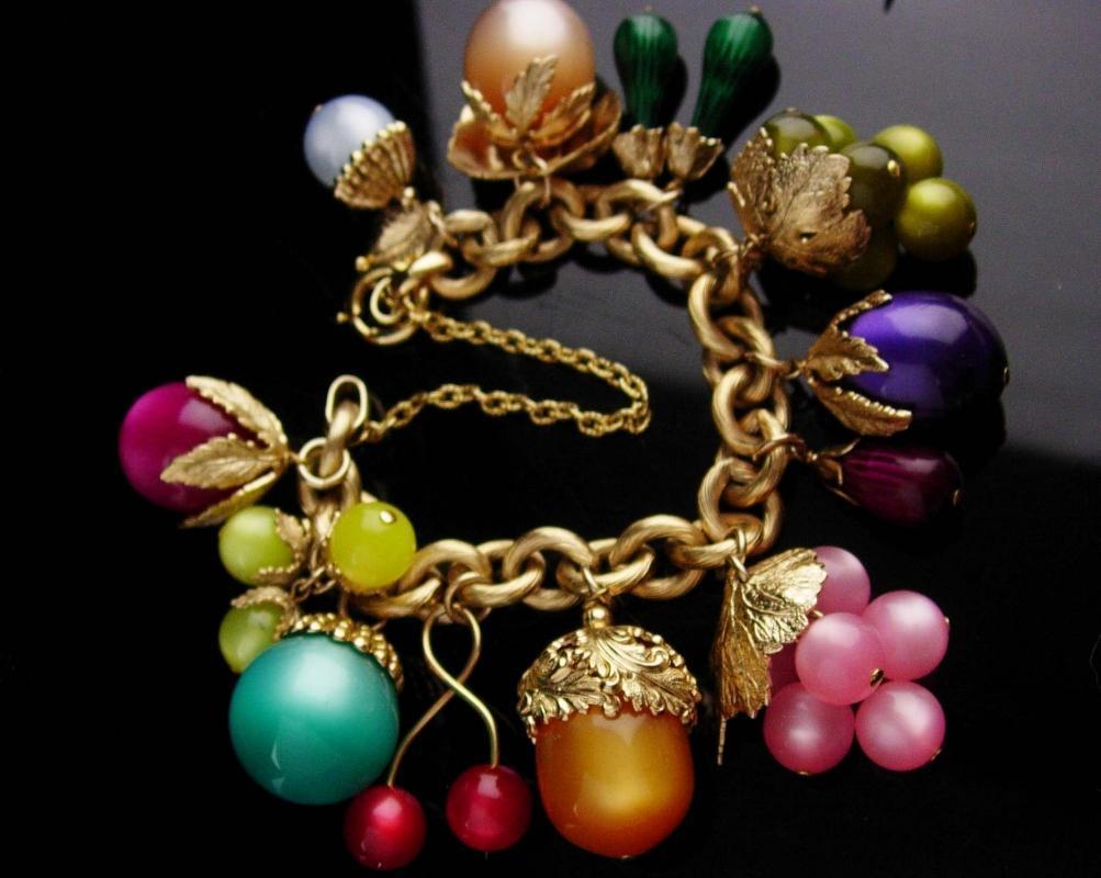 Vintage Chunky NAPIER Fruit Salad Charm Bracelet - Vintage moonglow acorn beaded - couture colorful Charm Bracelet