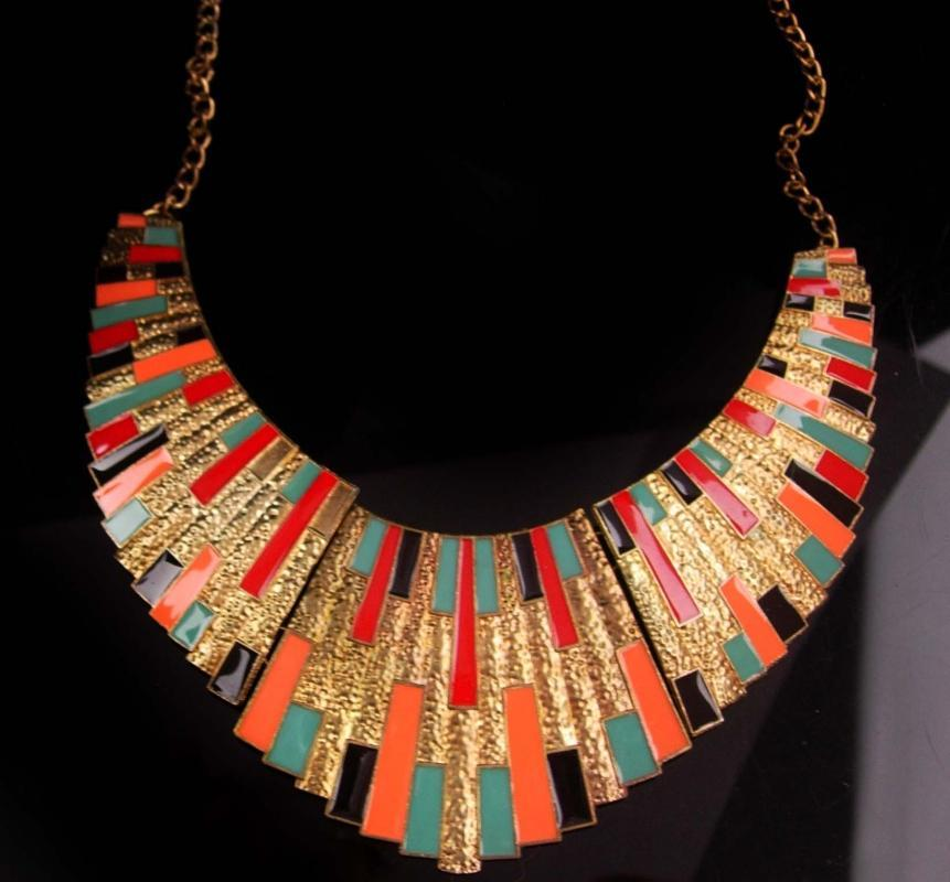 Vintage Cleopatra necklace - gold & Enamel statement collar - Goddess jewelry - hinged necklace