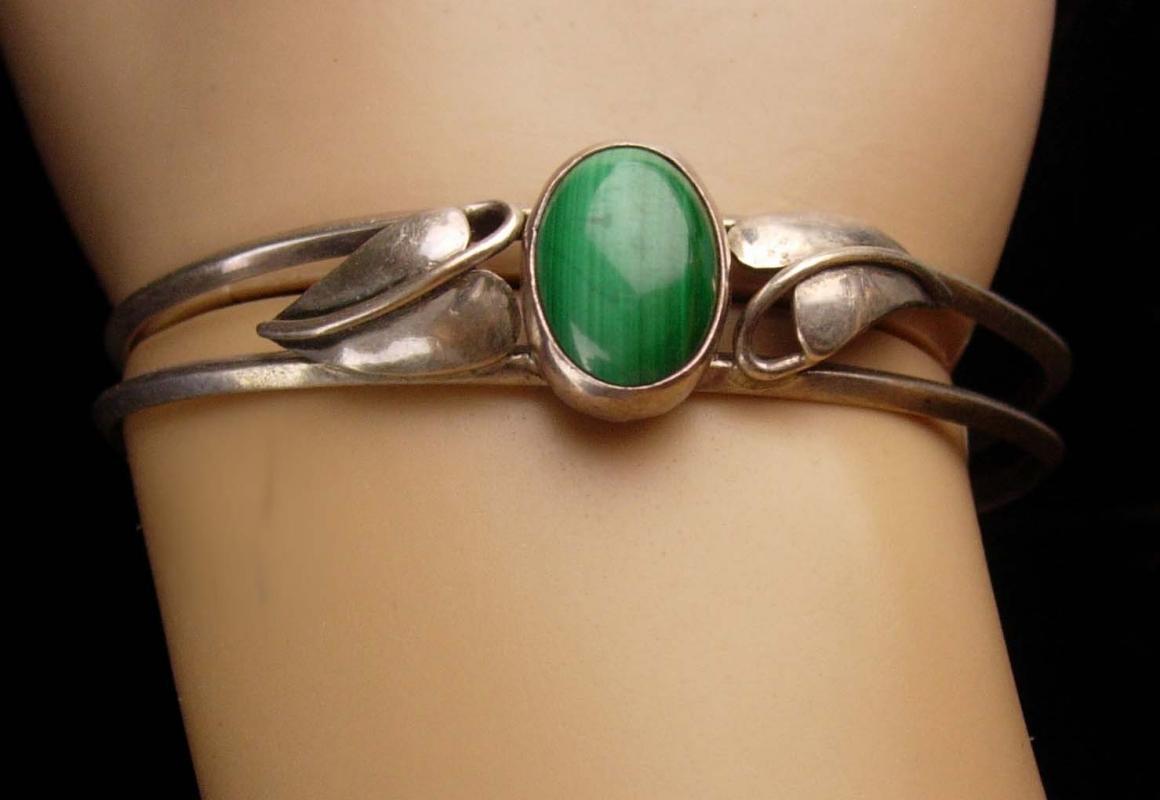 vintage Malachite Bracelet -irish green - Sterling ivy Silver Cuff Wrap - Artisan Fine estate jewelry 8 1/2