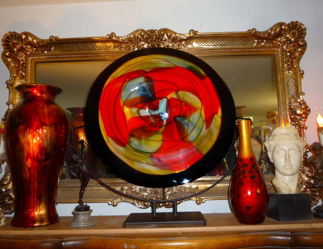 HUGE Art glass Object - RED Viz Glass dish - modernist - Studio Art Glass - one of a kind  Abstract glass with stand