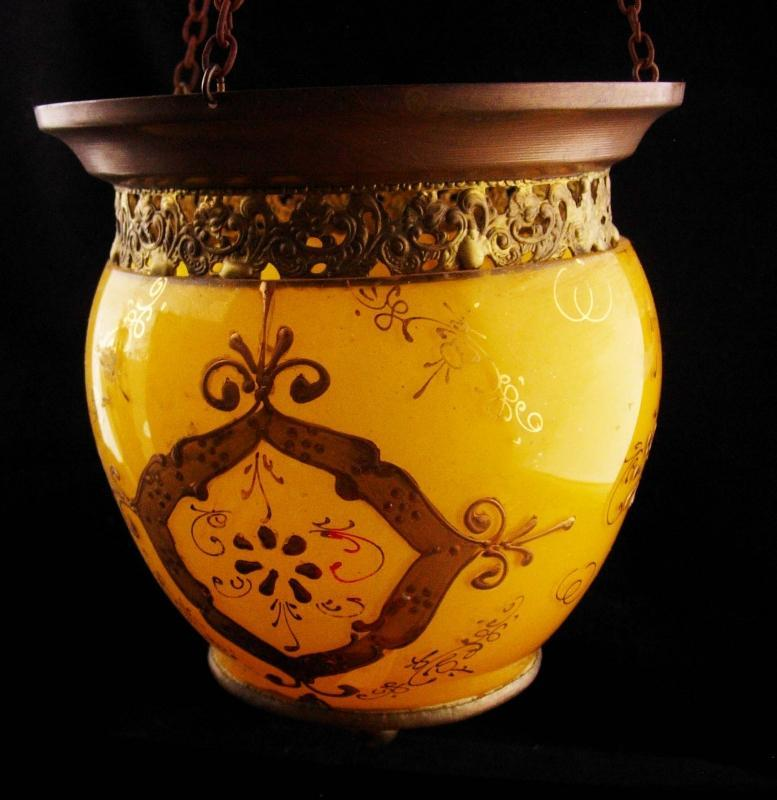 Antique hanging lamp - Gold relief - marigold yellow pendant light - victorian glass shade globe - vintage mustard lamp