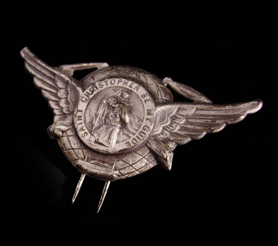 Vintage WWII St Christopher military medal - Paratrooper hat pin badge Badge - silver wings parachute Award Veteran Birthday / Retirement