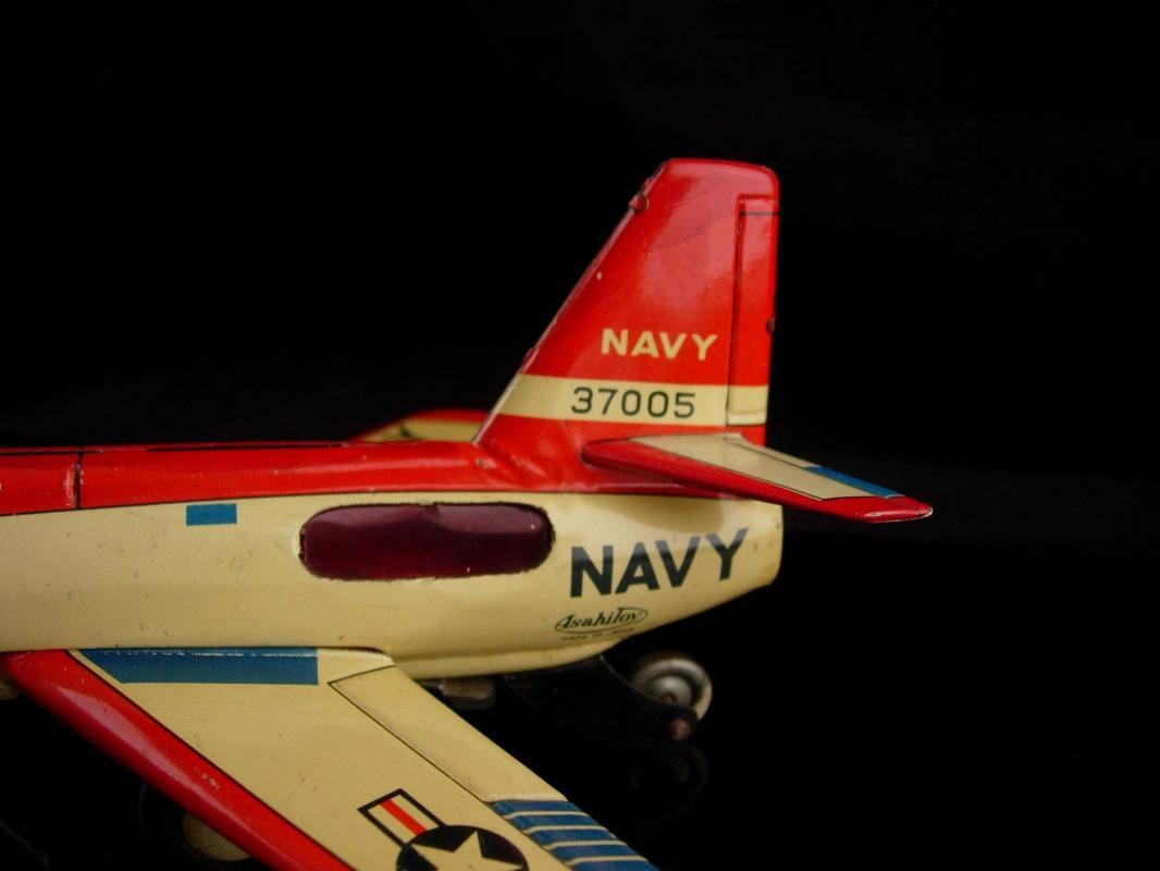 1950's Navy 37005 Airplane - Tin Litho toy - Japanese Asahiloy  toy - veteran gift - vintage military toy jet