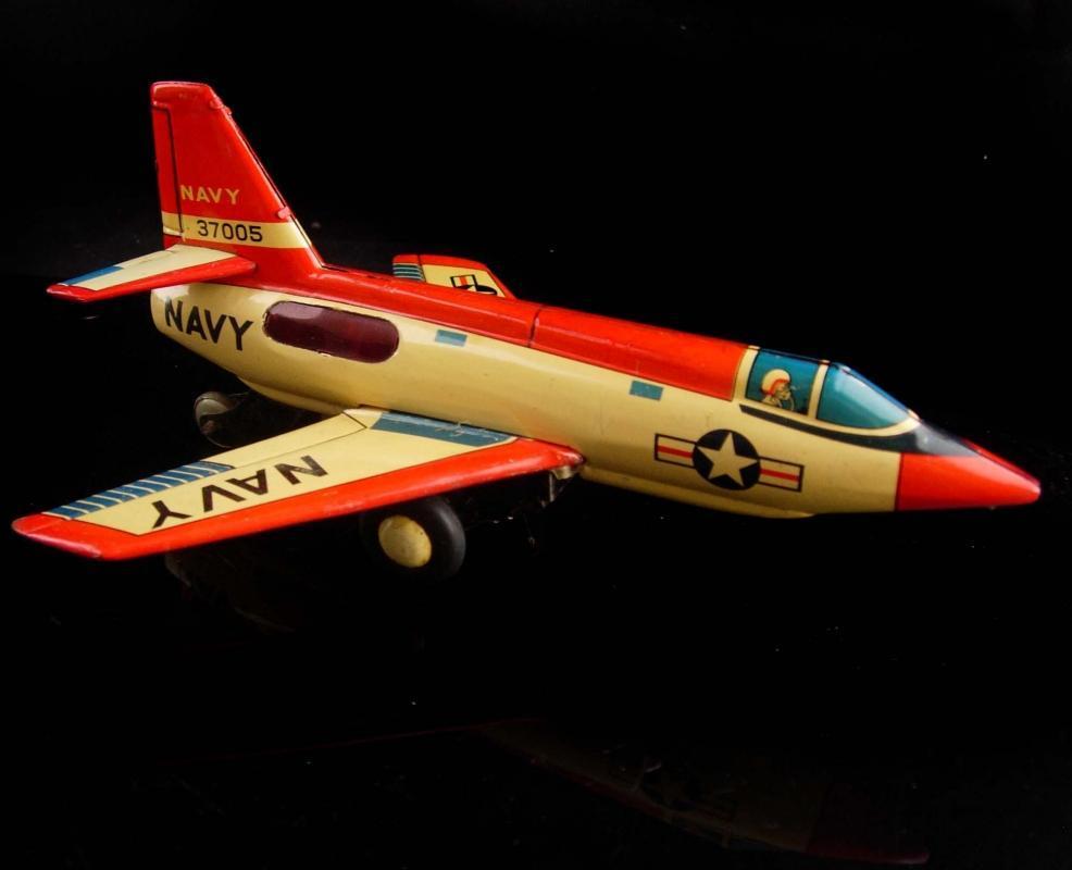 1950's Navy 37005 Airplane - Tin Litho toy - Japanese Asahiloy  toy - veteran gift - vintage military toy jet