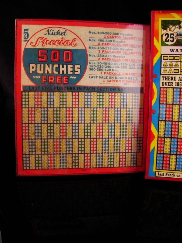 Vintage 1950s  Punchboard lot - Gambler good luck gift - wood peg boards - drugstore gambling advertisement