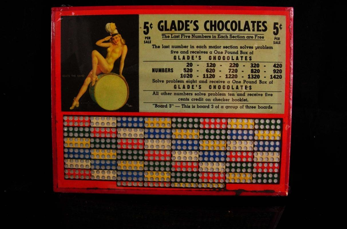 Nude Pinup girl - del Masters - Vintage 1950s  Punchboard - Gambler good luck gift - naughty game boards - drugstore gambling advertisement