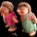 Rare walking Hedgehog dolls - wind up toys - vintage 1940's porcupine possum - ORIGINAL key -