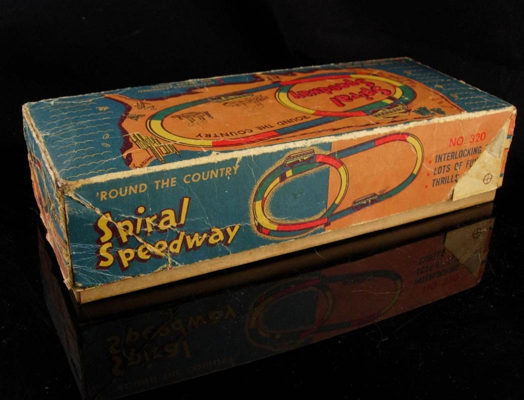 Antique Toy -Vintage Automatic Toy Co - Spiral Speedway - No 320 - Wind-up Buses - original key - tin litho toys and box - vintage toy -