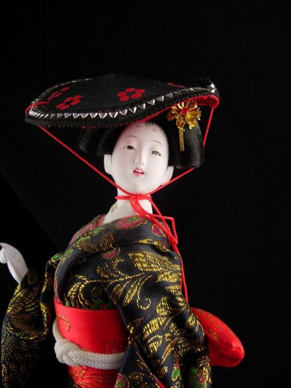 Vintage Geisha doll - glass eyes - Oriental Asian art - japanese costume
