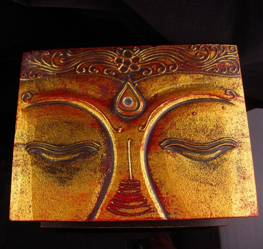 Large Buddha Box - carved golden top - Vintage wood  box - Jewelry wood case - ornate spiritual gift box