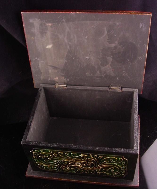 Large Buddha Box - carved golden top - Vintage wood  box - Jewelry wood case - ornate spiritual gift box