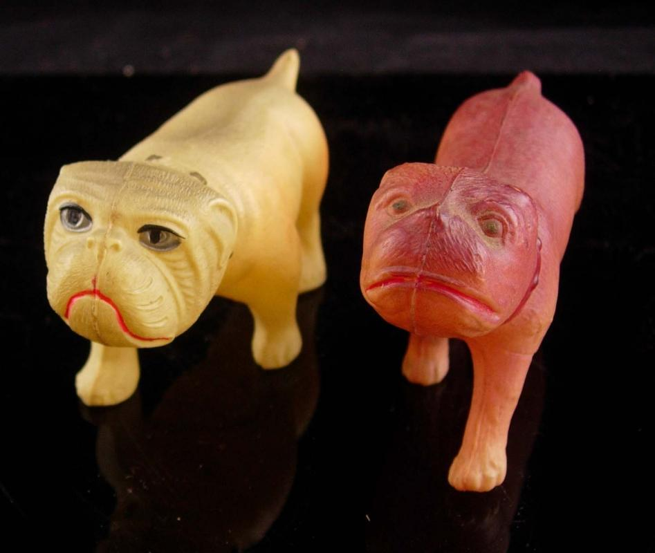 TWO Vintage Bulldogs  - vintage celluloid dogs - signed animal toys - VCO logo-  1915 - 1930