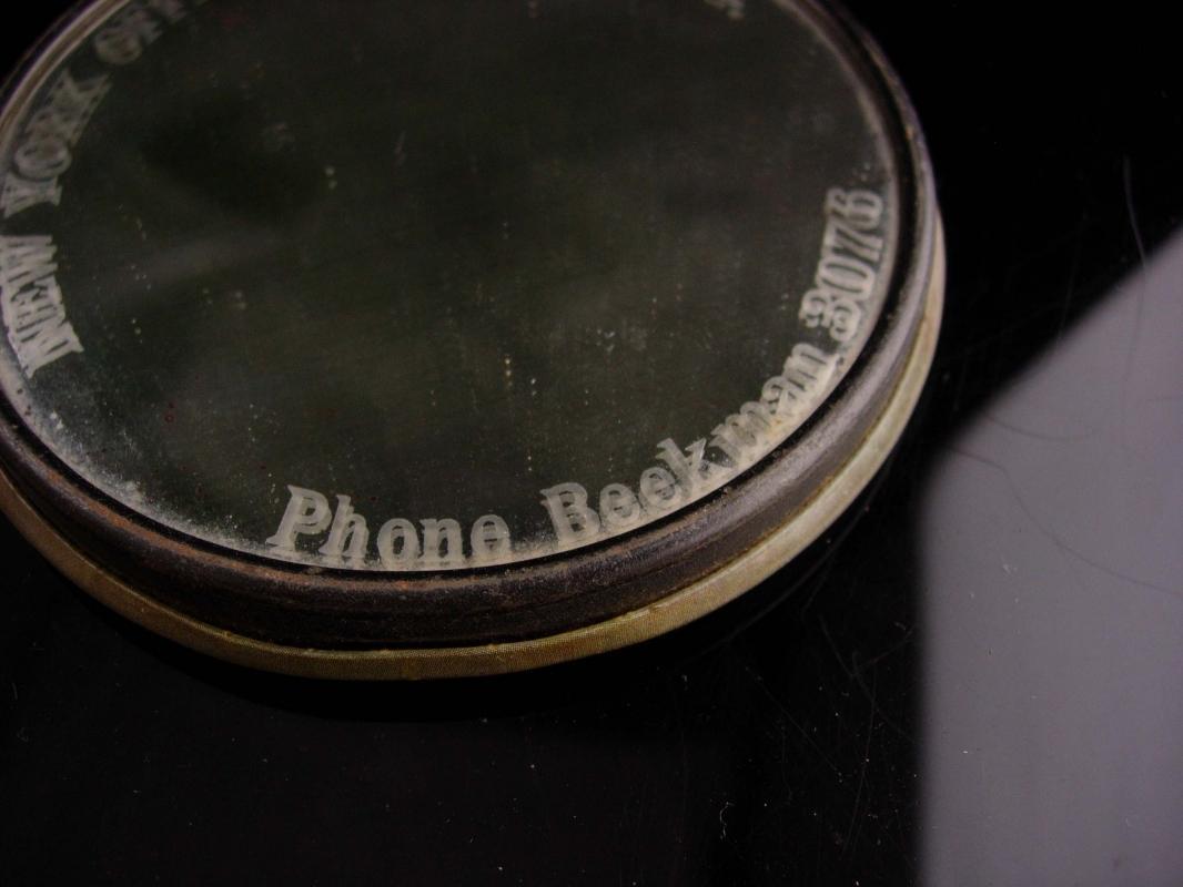 Rare New York Tribune Mirror -  Beekman 3076- vintage Original Parisian Novelty Co - Celluloid Glass Pocket Mirror - advertising specialties