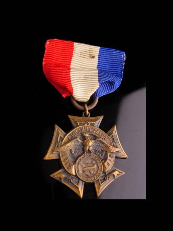 1917 Medal  - Chickopee Mass - - victory medal - ribbon cross - WW1 medal -  Vintage Birthday Veterans