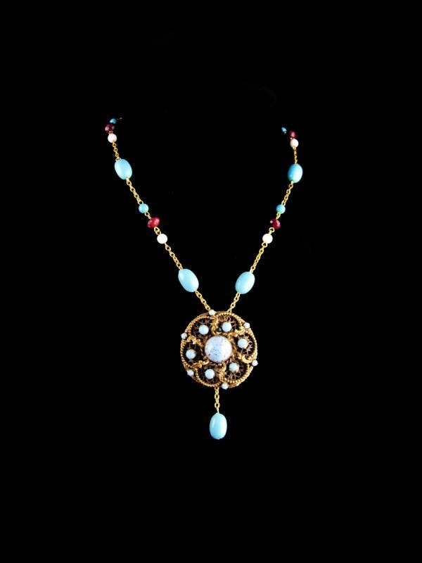Vintage Austria brooch Necklace set - Turquoise color Bohemian style - hippie jewelry