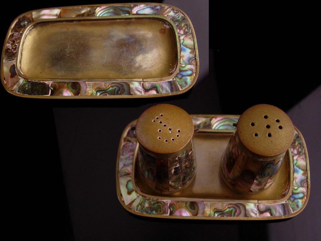 Vintage Taxco  salt pepper - abalone shell and brass - Original tray  / Antique salt pepper Shaker set