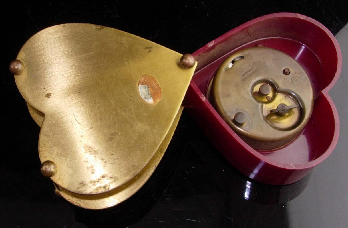 Rare Richard Rau hidden clock - 1950s German Folding Heart Shape Novelty Gift - valentines sweetheart gift