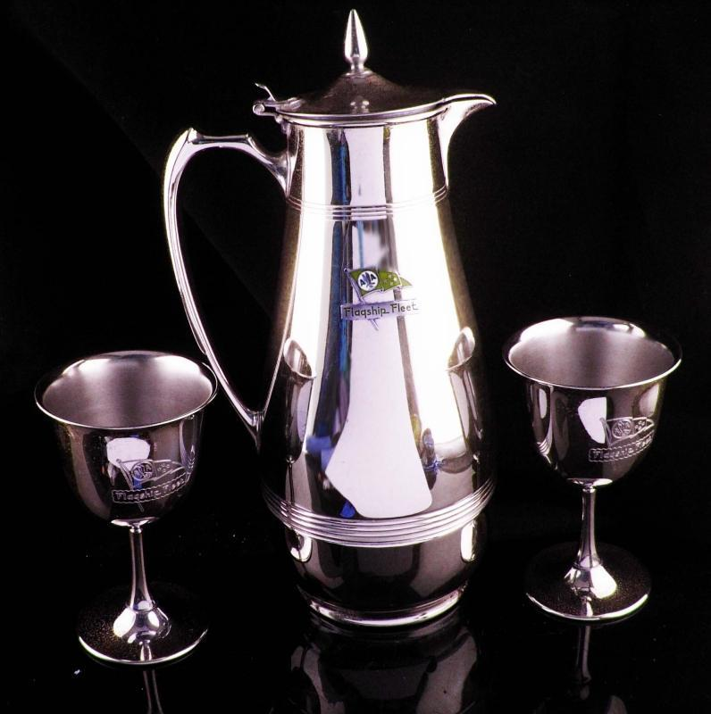 Vintage American Airlines 3 piece set - FLAGSHIP Fleet - Carafe - chrome wine  goblets 1940 patented  1917