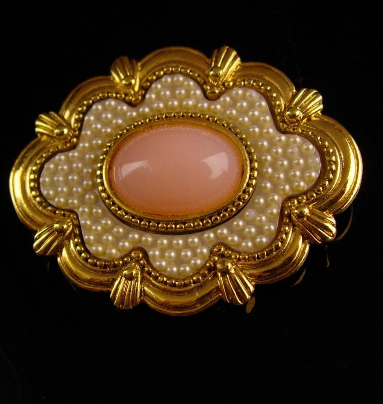 Antique style Victorian brooch - edwardian seed pearl pin - rose quartz - estate jewelry - womens anniversary gift