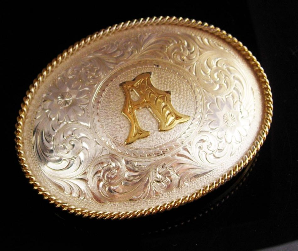 Fancy Belt Buckle - letter initial A - personalized gift - Mens BIG gold silver Rodeo Cowboy - Montana metalsmith western trucker biker gift