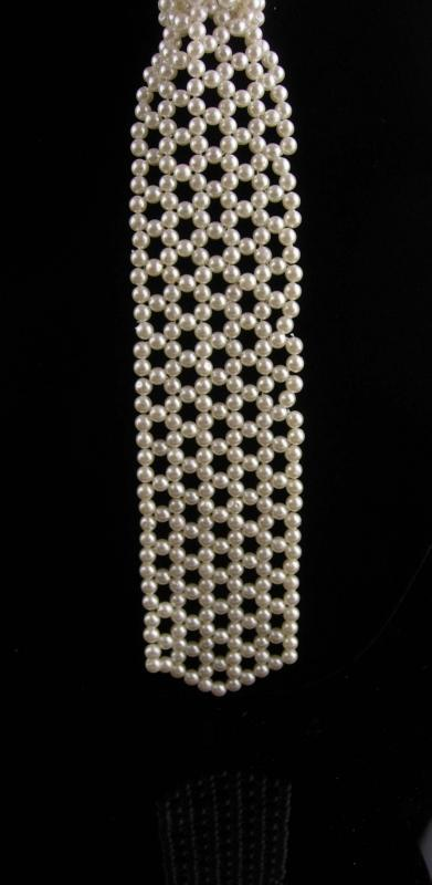 Vintage Pearl Tie Necklace - mens tie - Costume jewelry - pearl choker