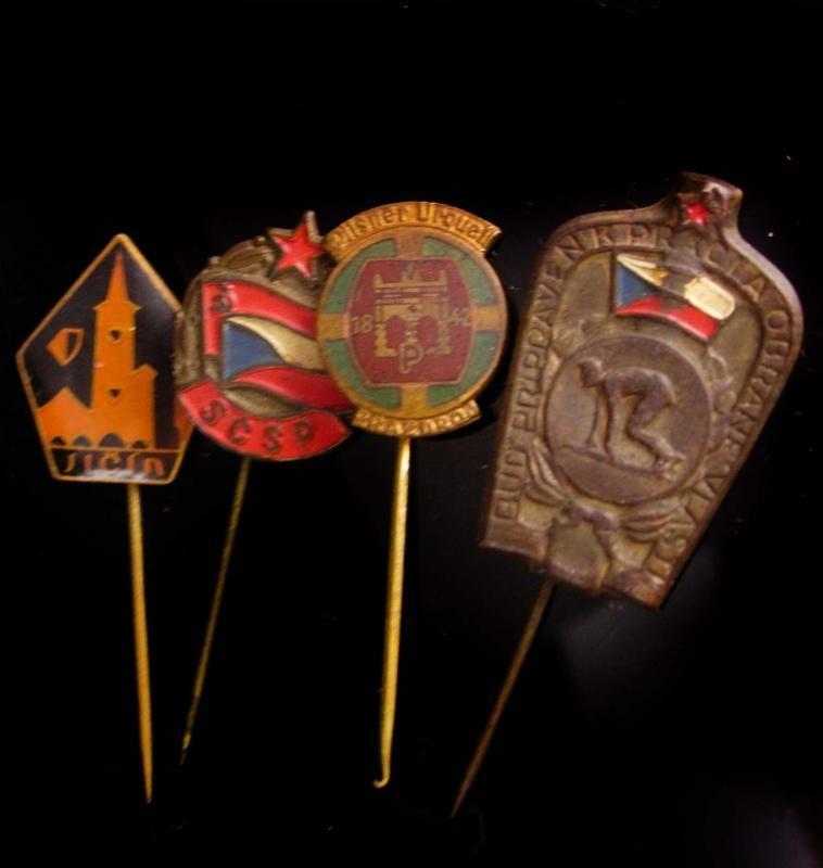 4 vintage and Antique hat pins - german - Pilsner Urquel- sports - scsp - czech