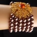 Huge Maltese Cross bracelet - large Baroque pearls - rhinestone - renaissance revival  - couture estate costume jewelry - signed iman
