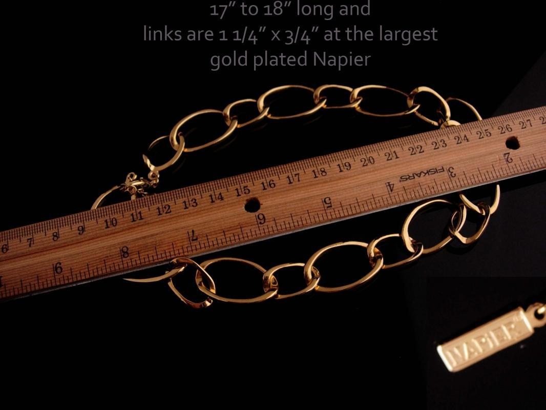 Vintage Napier necklace / Wide chain link  / gold choker / Couture Jewelry