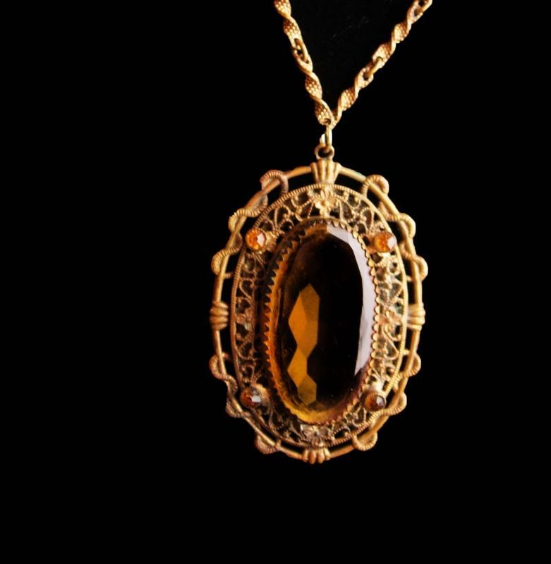 Antique Czech necklace - Victorian snake design - Vintage yellow faceted glass - filigree  pendant - gothic drop - edwardian jewelry