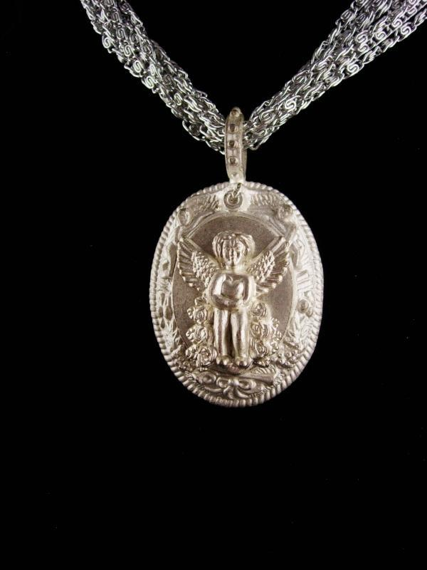Signed gothic  Angel necklace / silver milagro  cherub / vintage Estate Jewelry / Friendship gift / anniversary gift