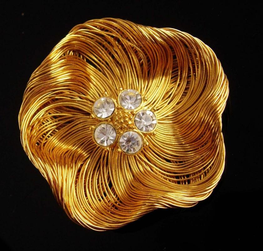 Vintage birds nest  Brooch - signed Monet - couture Designer - Anniversary Valentines gift for her