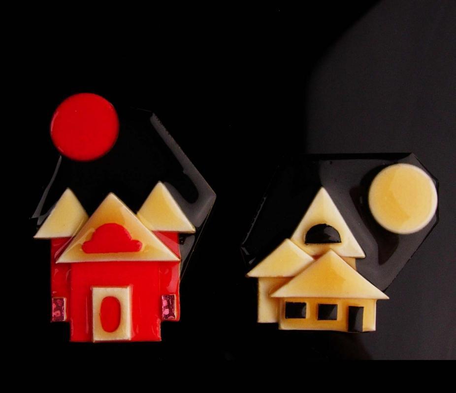 Vintage  house set - lucite Brooch Signed Lucinda - House Brokers - real estate gift - Salesperson Realtor Birthday