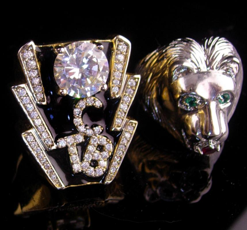 Vintage Elvis collection - 2 elvis rings - TCB and lion - size 9 1/2 and 14  collector gift stocking stuffer