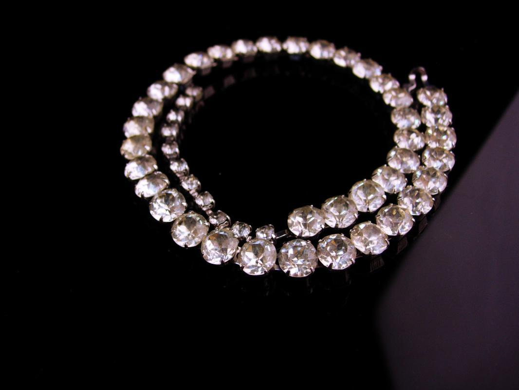 Vintage Eisenberg  choker - wedding necklace jewelry - Vintage Rhinestone Anniversary gift - costume jewelry - couture necklace