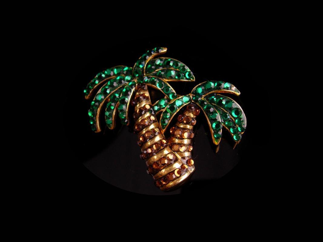Vintage Hawaii brooch - rhinestone palm tree -  - nautical gift - Surfer Hawaiian gift