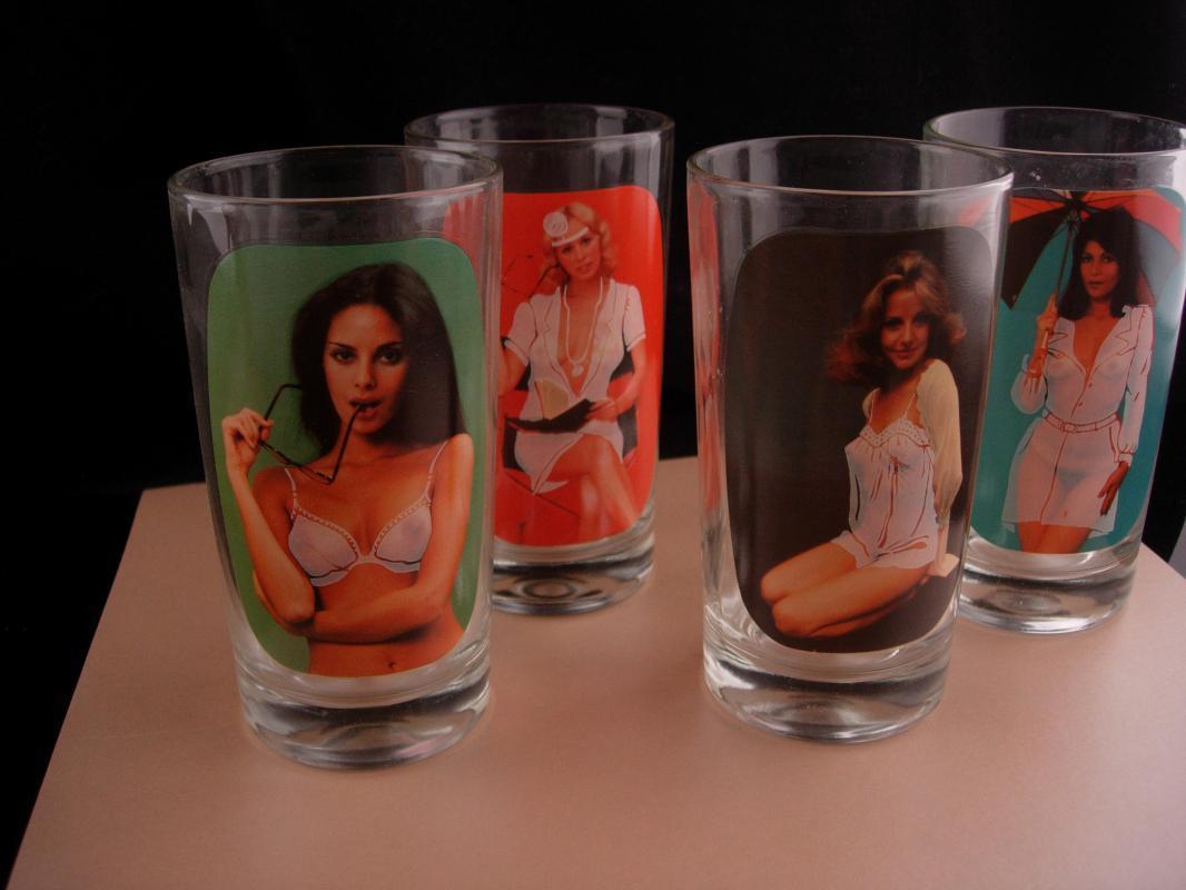 Nude Pinup girl glasses - erotic nude novelty gift - Vintage bartender naughty strip tease glass set - burlesque gift