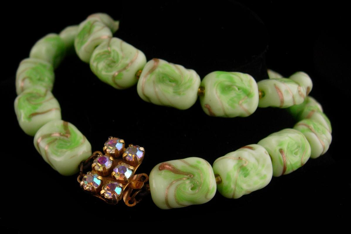 1950's Vintage Venetian Necklace - green gold  murano Glass -  irish  choker - Italian art glass jewelry