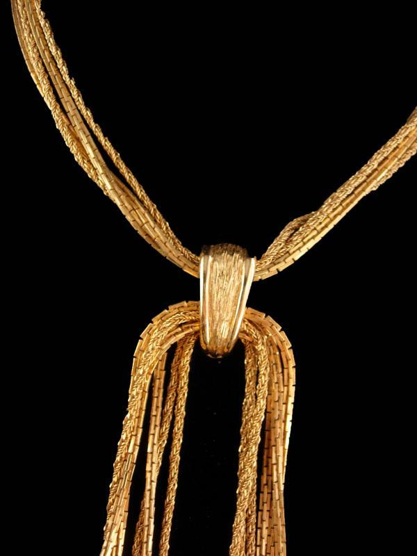 Vintage Monet necklace -  Gold Tassel Choker  - couture jewelry - Multi Strand flapper Chain  with enhnacer