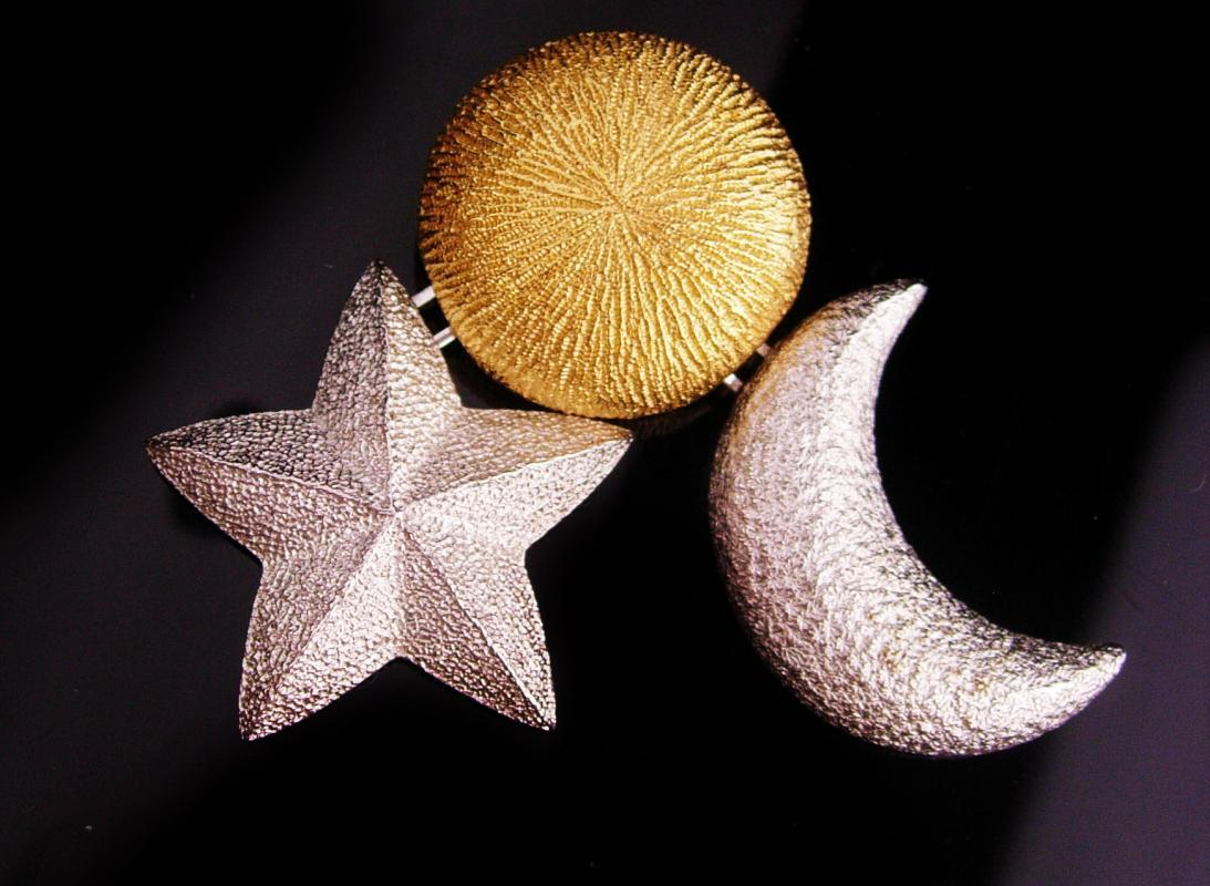 SIgned Christian Dior bijoux - Vintage  chandelier stars moons brooch - couture jewelry - gold silver Magical jewelry -celestial gift