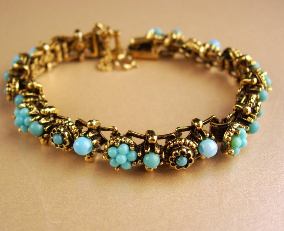 Vintage Edwardian Bracelet - Turquoise and gold  bookchain links