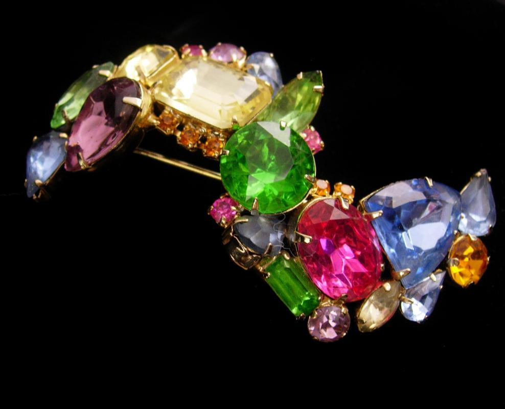 HUGE Rhinestone Brooch - Vintage statement pin - 3